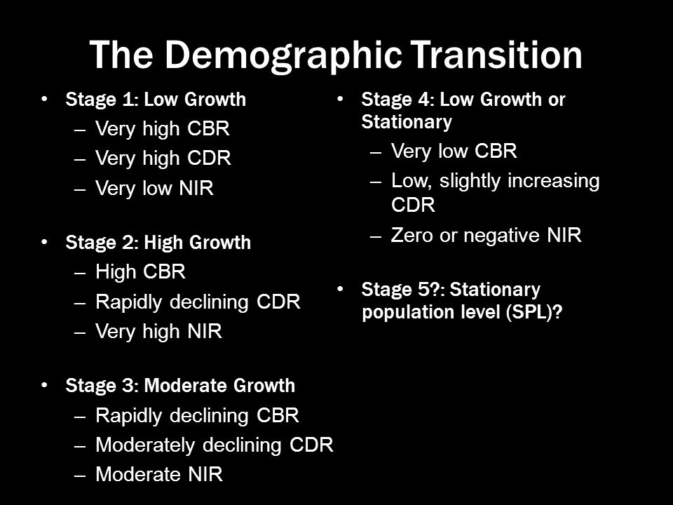 The Demographic Transition Stage 1: Low Growth –Very high CBR –Very high CDR –Very low NIR Stage 2: High Growth –High CBR –Rapidly declining CDR –Very