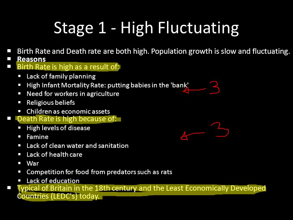 Stage 1 - High Fluctuating  Birth Rate and Death rate are both high. Population growth is slow and fluctuating.  Reasons  Birth Rate is high as a r