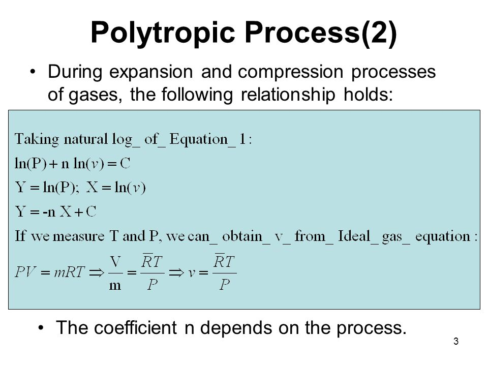 3 Polytropic Process(2) During expansion and compression processes of gases, the following relationship holds: The coefficient n depends on the process.