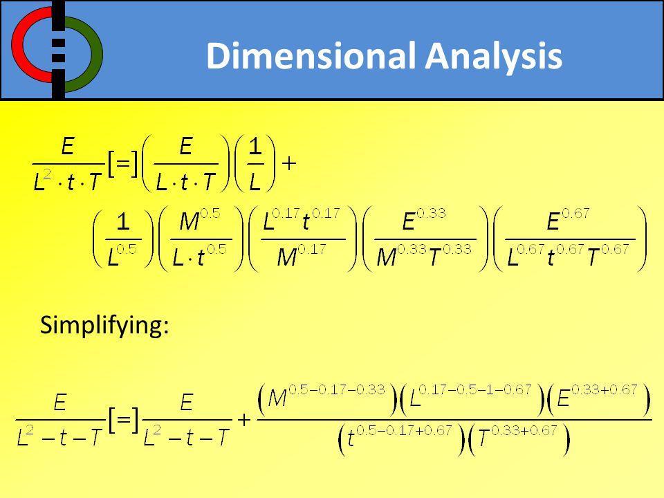 Dimensional Analysis Simplifying: