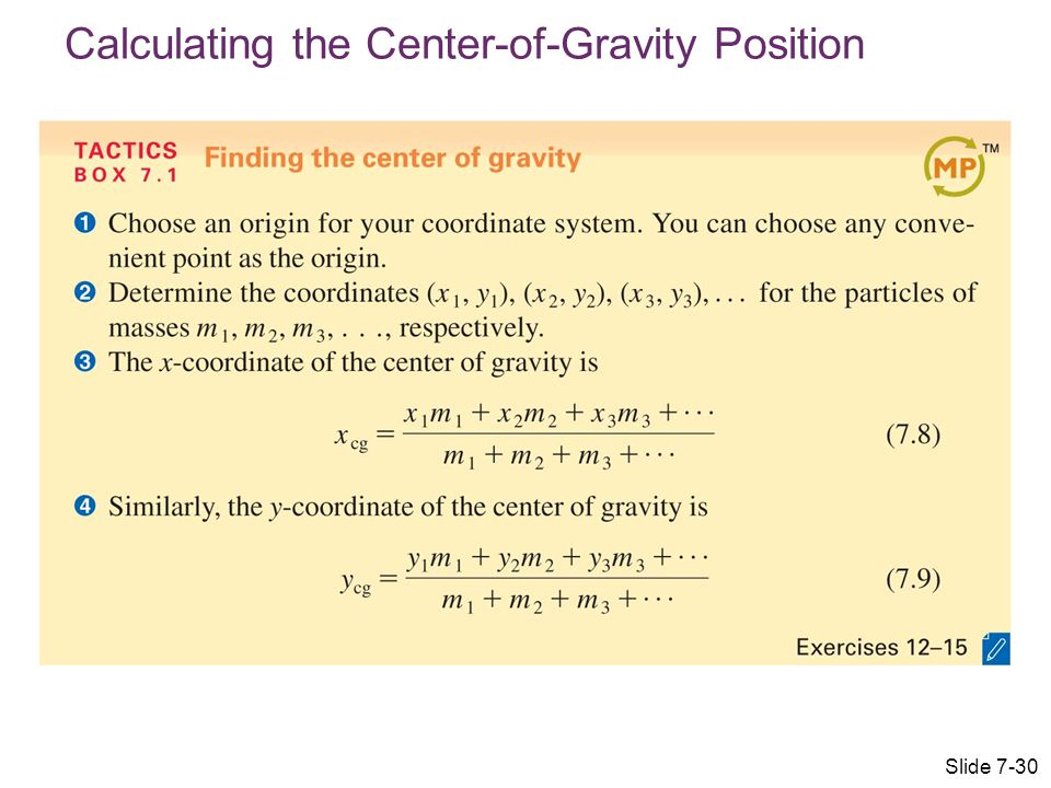 Calculating the Center-of-Gravity Position Slide 7-30