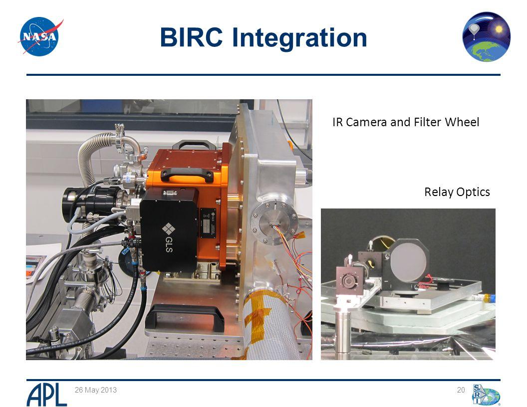 20 BIRC Integration 26 May 2013 IR Camera and Filter Wheel Relay Optics