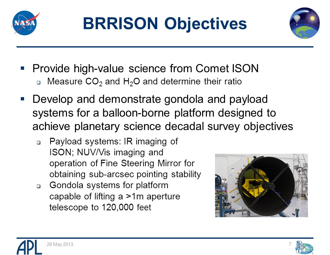  Provide high-value science from Comet ISON  Measure CO 2 and H 2 O and determine their ratio  Develop and demonstrate gondola and payload systems for a balloon-borne platform designed to achieve planetary science decadal survey objectives 26 May 2013 7 BRRISON Objectives  Payload systems: IR imaging of ISON; NUV/Vis imaging and operation of Fine Steering Mirror for obtaining sub-arcsec pointing stability  Gondola systems for platform capable of lifting a >1m aperture telescope to 120,000 feet