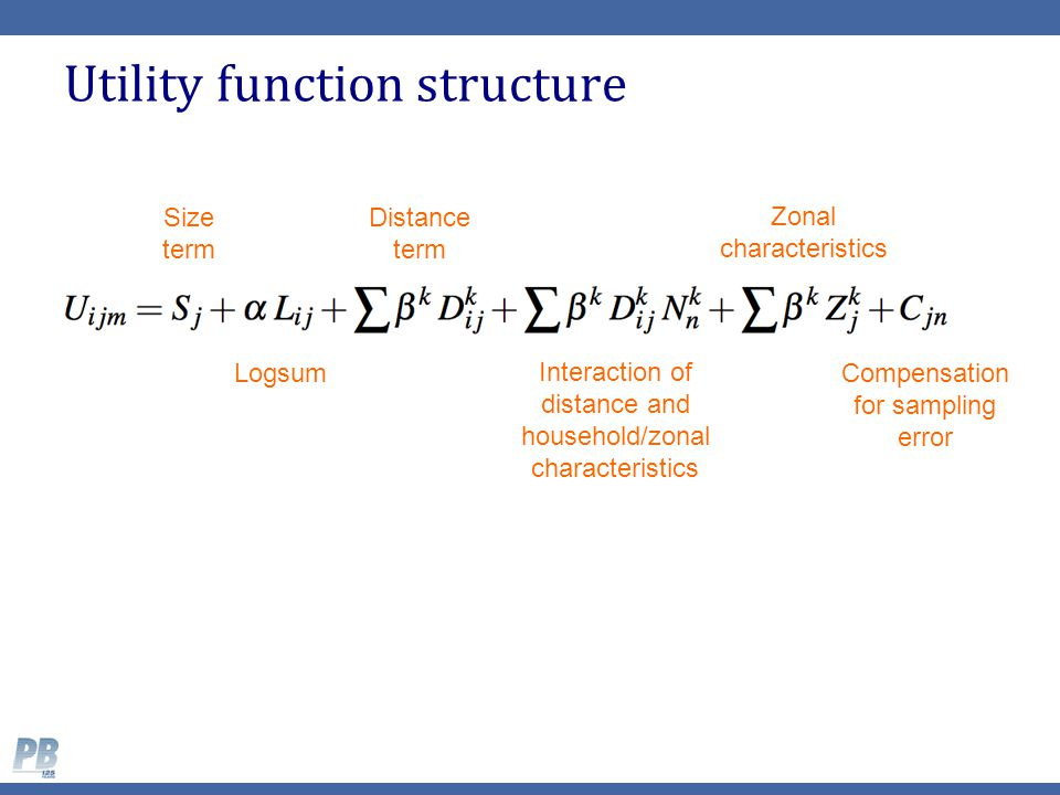 Utility function structure Size term Distance term Logsum Interaction of distance and household/zonal characteristics Zonal characteristics Compensati