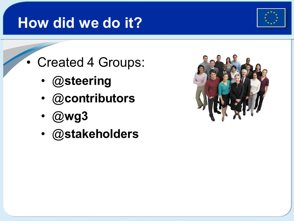 Created 4 Groups: @steering @contributors @wg3 @stakeholders How did we do it?