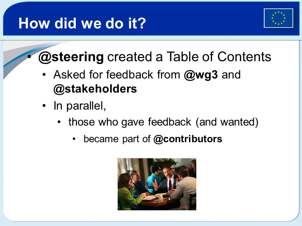 @steering created a Table of Contents Asked for feedback from @wg3 and @stakeholders In parallel, those who gave feedback (and wanted) became part of