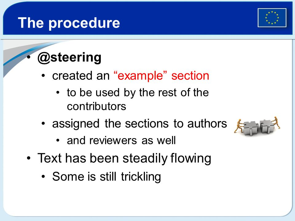 @steering created an example section to be used by the rest of the contributors assigned the sections to authors and reviewers as well Text has been steadily flowing Some is still trickling The procedure