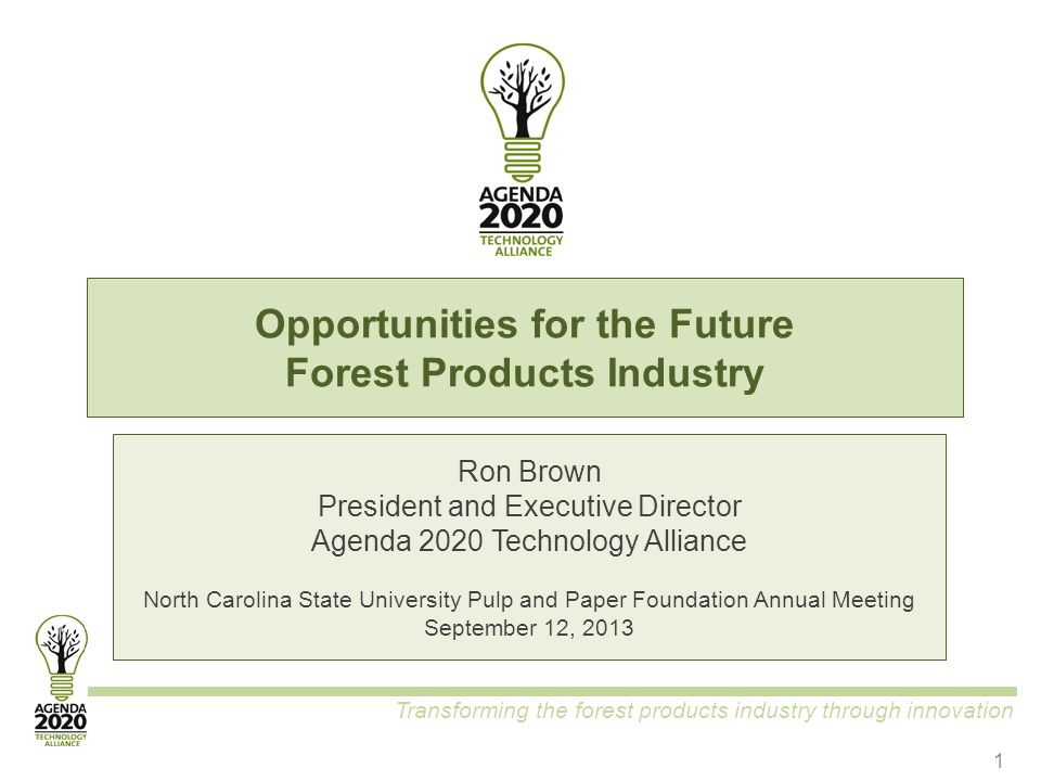 Transforming the forest products industry through innovation Opportunities for the Future Forest Products Industry Ron Brown President and Executive D