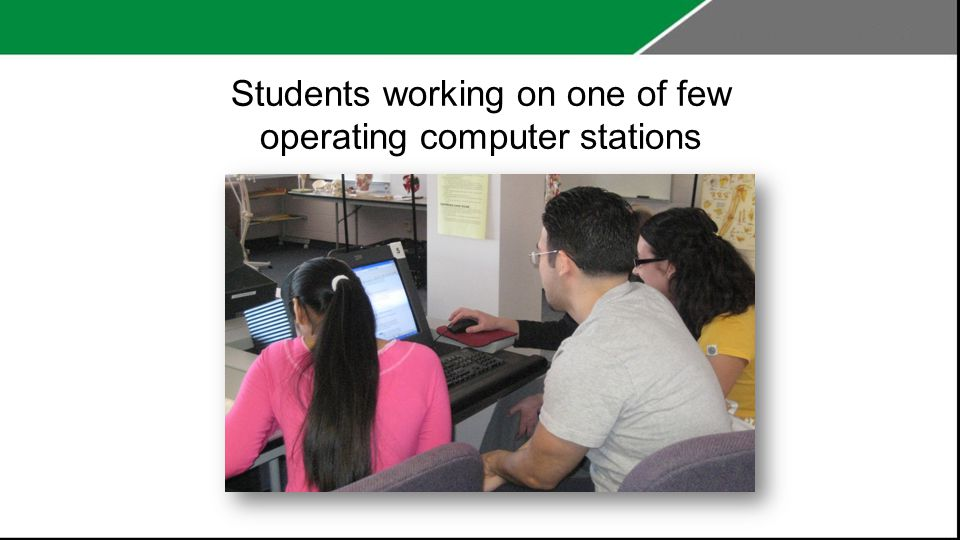Students working on one of few operating computer stations