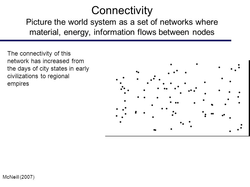 Connectivity Picture the world system as a set of networks where material, energy, information flows between nodes The connectivity of this network has increased from the days of city states in early civilizations to regional empires McNeill (2007)