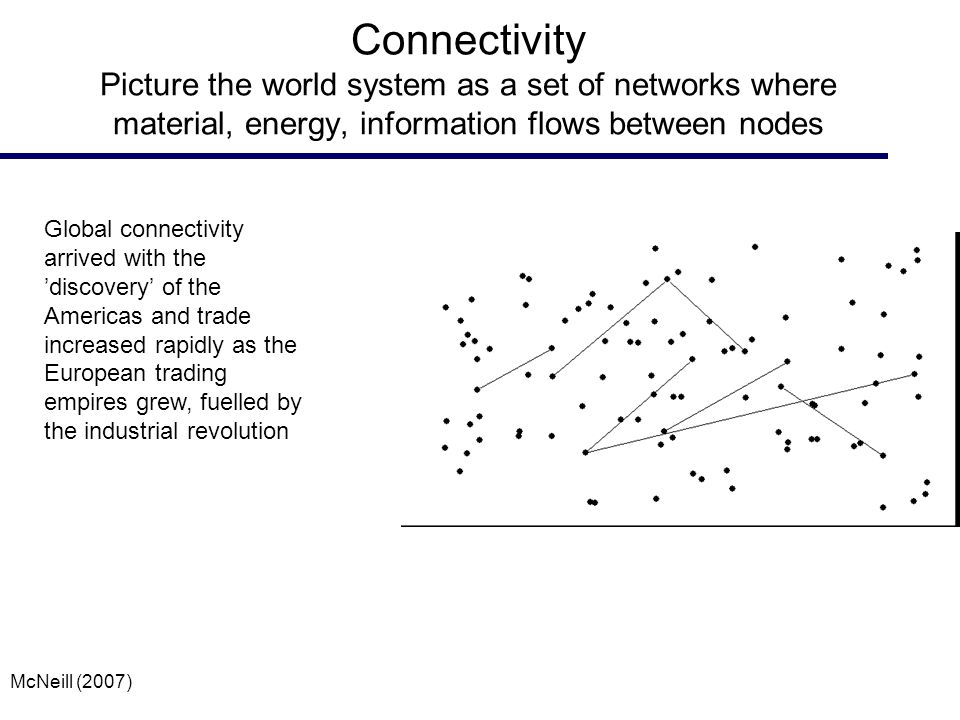Connectivity Picture the world system as a set of networks where material, energy, information flows between nodes Global connectivity arrived with the 'discovery' of the Americas and trade increased rapidly as the European trading empires grew, fuelled by the industrial revolution McNeill (2007)
