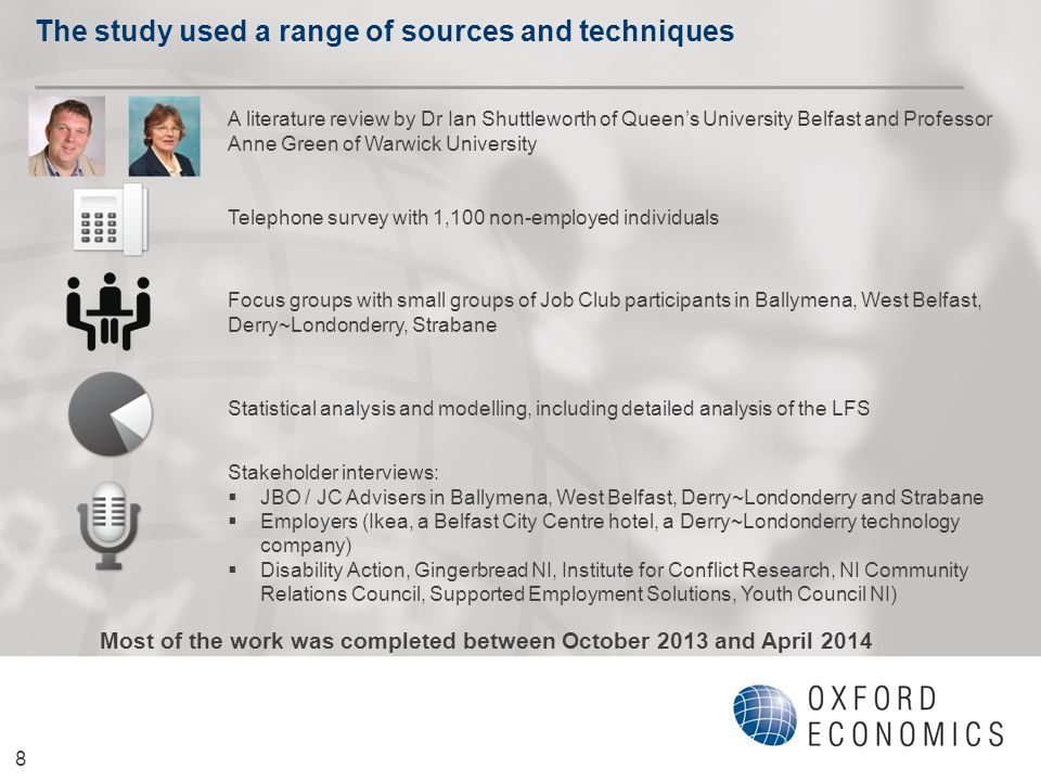 The study used a range of sources and techniques 8 A literature review by Dr Ian Shuttleworth of Queen's University Belfast and Professor Anne Green of Warwick University Telephone survey with 1,100 non-employed individuals Stakeholder interviews:  JBO / JC Advisers in Ballymena, West Belfast, Derry~Londonderry and Strabane  Employers (Ikea, a Belfast City Centre hotel, a Derry~Londonderry technology company)  Disability Action, Gingerbread NI, Institute for Conflict Research, NI Community Relations Council, Supported Employment Solutions, Youth Council NI) Statistical analysis and modelling, including detailed analysis of the LFS Focus groups with small groups of Job Club participants in Ballymena, West Belfast, Derry~Londonderry, Strabane Most of the work was completed between October 2013 and April 2014
