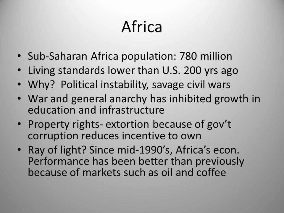 Africa Sub-Saharan Africa population: 780 million Living standards lower than U.S.