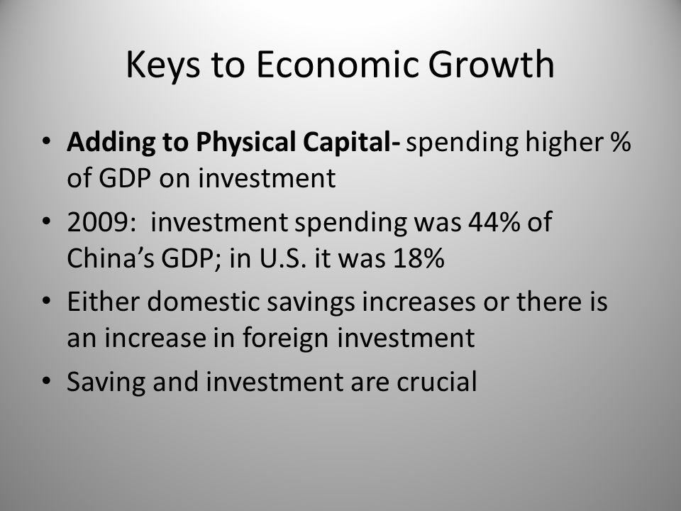 Keys to Economic Growth Adding to Physical Capital- spending higher % of GDP on investment 2009: investment spending was 44% of China's GDP; in U.S.