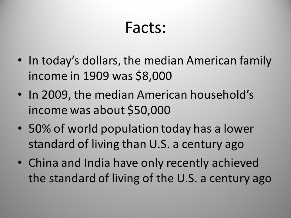 Facts: In today's dollars, the median American family income in 1909 was $8,000 In 2009, the median American household's income was about $50,000 50% of world population today has a lower standard of living than U.S.