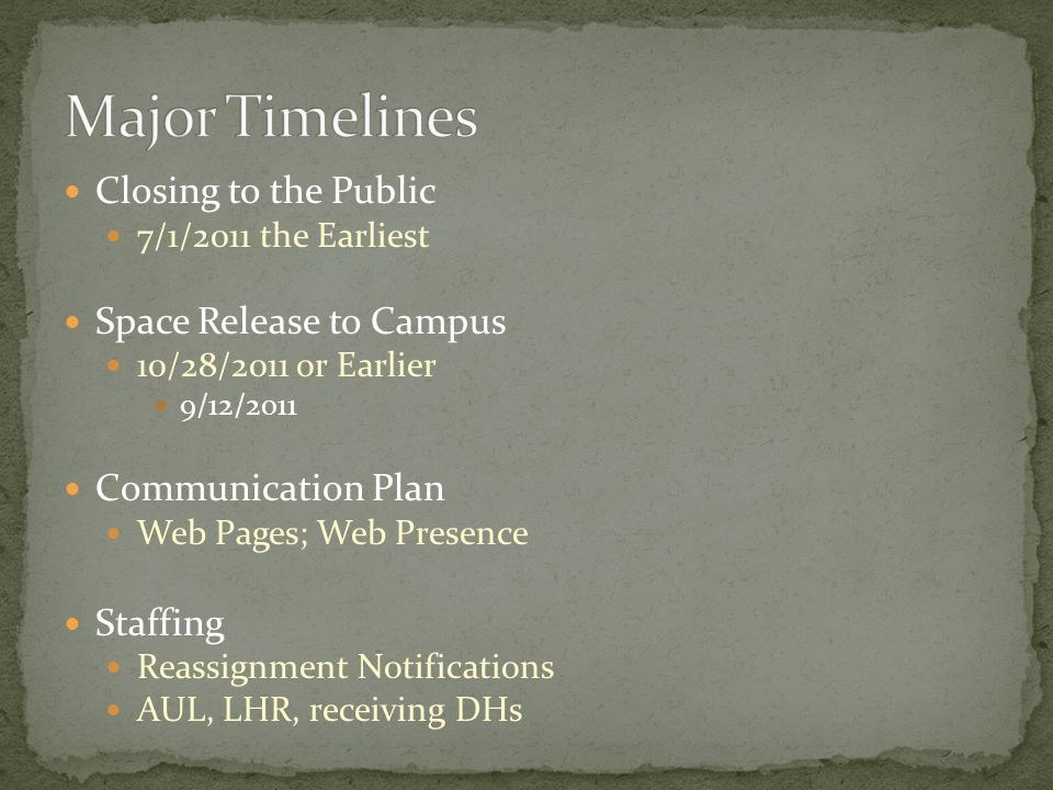 Closing to the Public 7/1/2011 the Earliest Space Release to Campus 10/28/2011 or Earlier 9/12/2011 Communication Plan Web Pages; Web Presence Staffin
