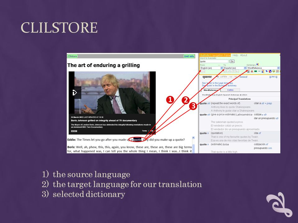 CLILSTORE 1)the source language 2)the target language for our translation 3)selected dictionary