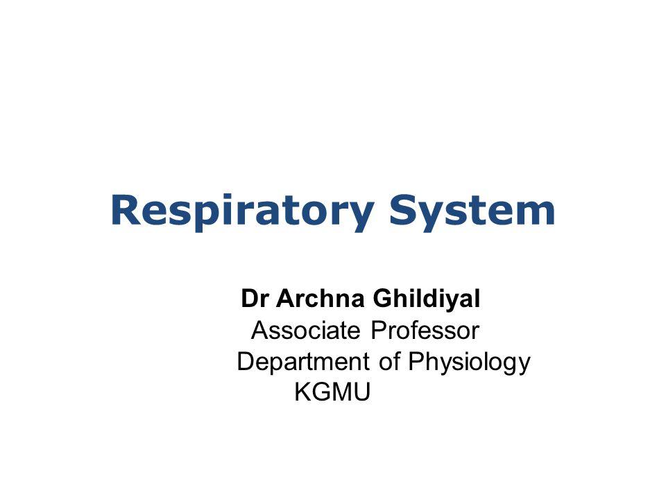 Dr Archna Ghildiyal Associate Professor Department of Physiology KGMU Respiratory System