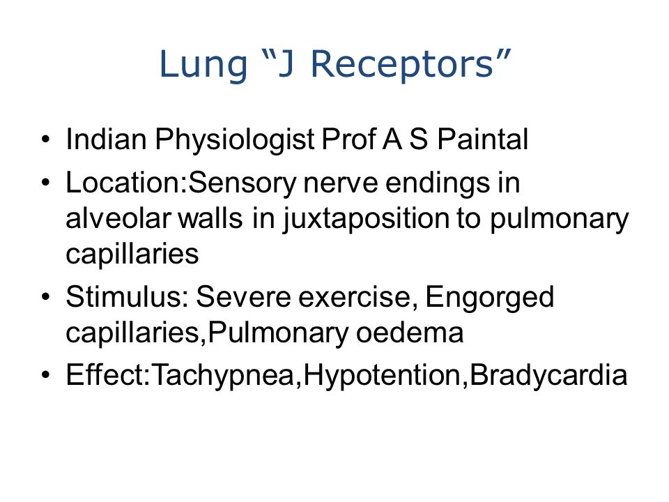 Lung J Receptors Indian Physiologist Prof A S Paintal Location:Sensory nerve endings in alveolar walls in juxtaposition to pulmonary capillaries Stimulus: Severe exercise, Engorged capillaries,Pulmonary oedema Effect:Tachypnea,Hypotention,Bradycardia
