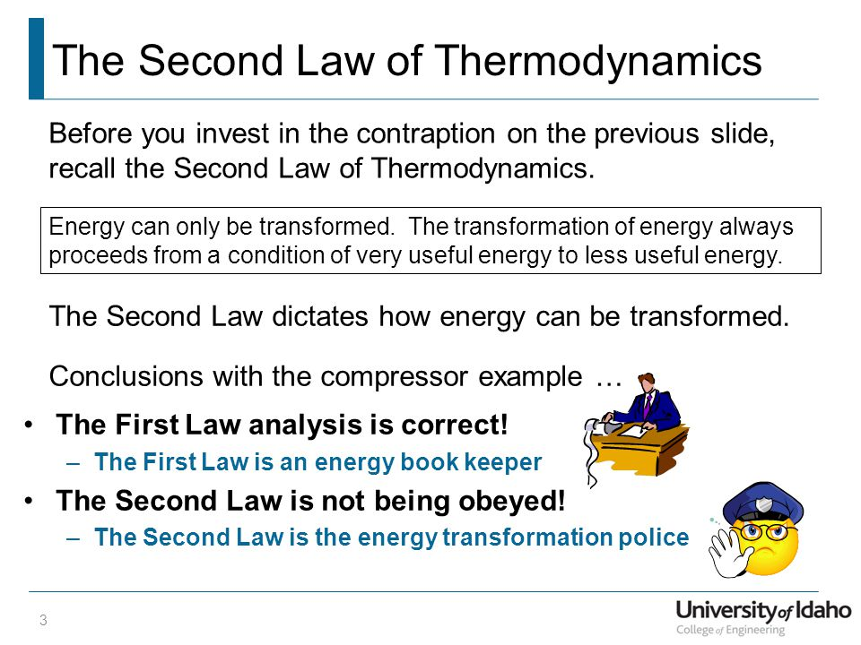 The Second Law of Thermodynamics The First Law analysis is correct.
