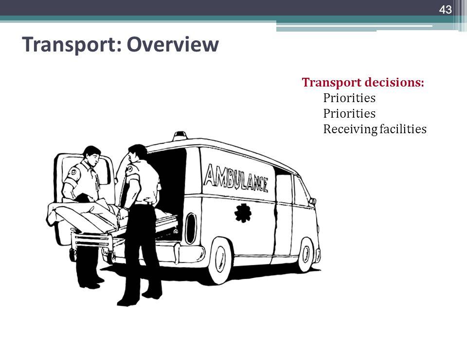 Transport: Overview Transport decisions: Priorities Receiving facilities 43