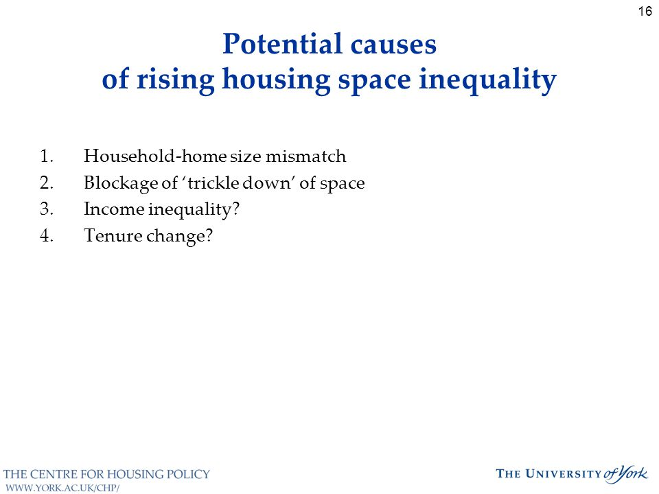 16 Potential causes of rising housing space inequality 1.Household-home size mismatch 2.Blockage of 'trickle down' of space 3.Income inequality.