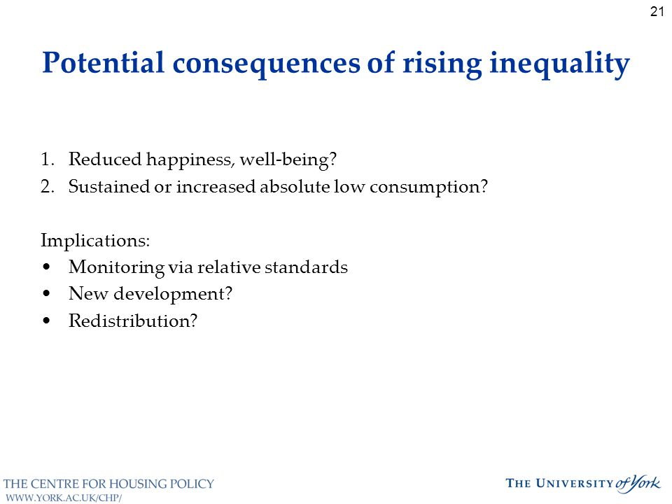 21 Potential consequences of rising inequality 1.Reduced happiness, well-being.
