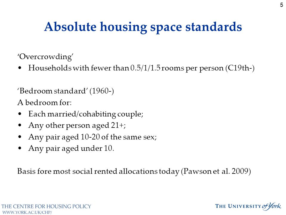 5 Absolute housing space standards ' Overcrowding' Households with fewer than 0.5/1/1.5 rooms per person (C19th-) 'Bedroom standard' (1960-) A bedroom for: Each married/cohabiting couple; Any other person aged 21+; Any pair aged 10-20 of the same sex; Any pair aged under 10.