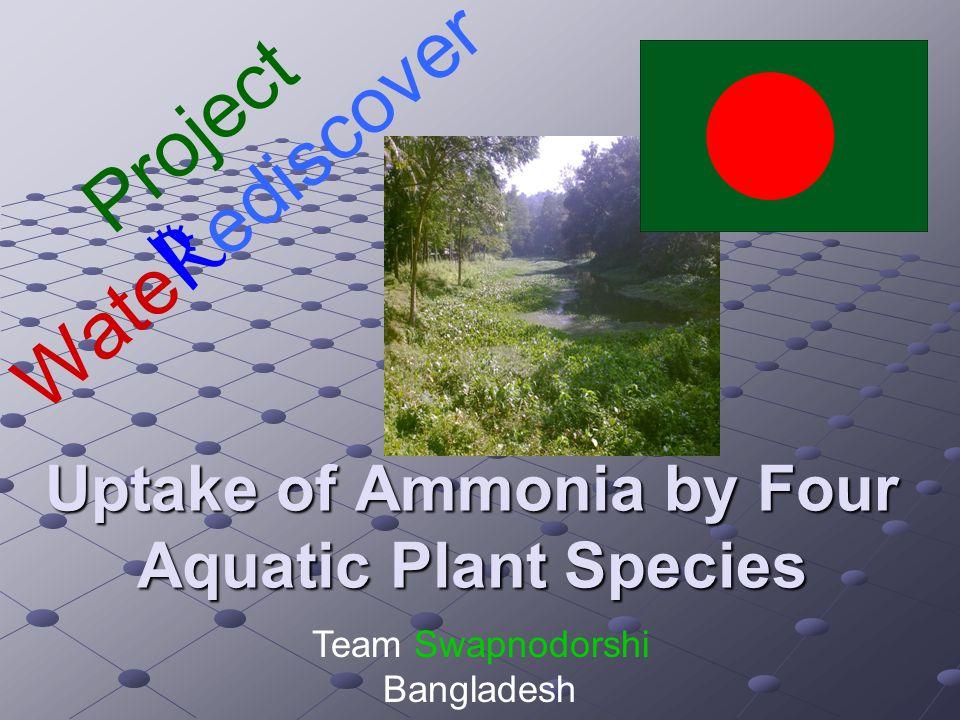 Uptake of Ammonia by Four Aquatic Plant Species Project Wate R ediscover Team Swapnodorshi Bangladesh