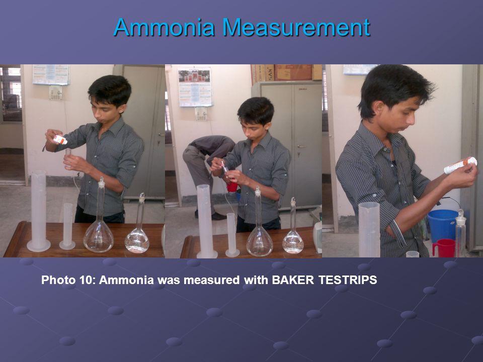 Photo 10: Ammonia was measured with BAKER TESTRIPS Ammonia Measurement