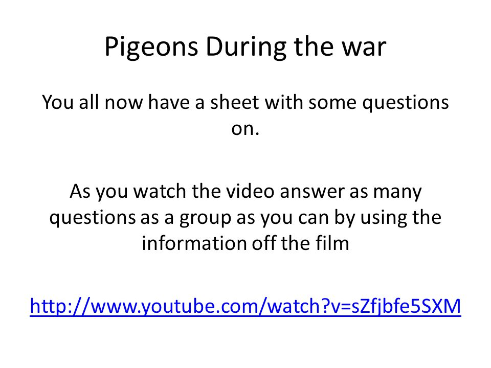 Pigeons During the war You all now have a sheet with some questions on.