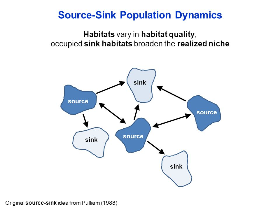 Habitats vary in habitat quality; occupied sink habitats broaden the realized niche Source-Sink Population Dynamics Original source-sink idea from Pul