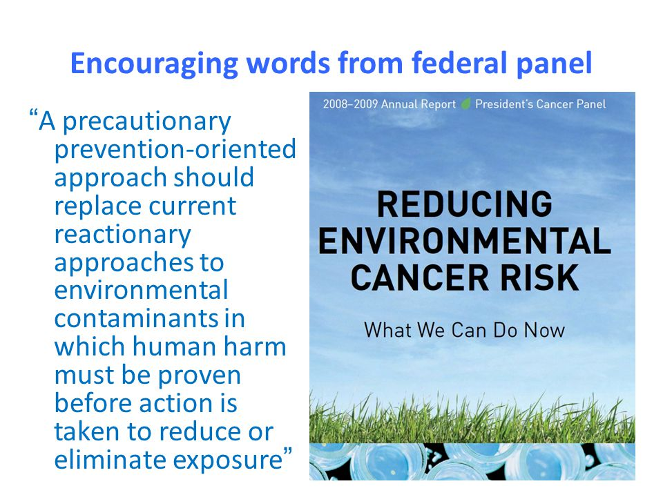 "Encouraging words from federal panel ""A precautionary prevention-oriented approach should replace current reactionary approaches to environmental cont"