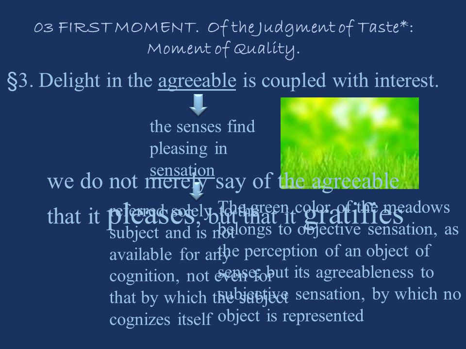 §3. Delight in the agreeable is coupled with interest.