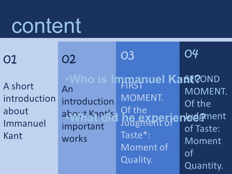 01 A short introduction about Immanuel Kant Immanuel Kant (1724–1804) Immanuel Kant is the central figure in modern philosophy.