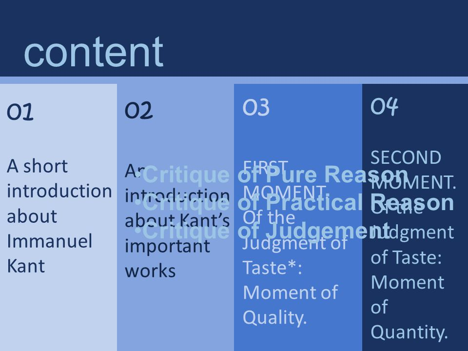 04 SECOND MOMENT.Of the Judgment of Taste: Moment of Quantity.