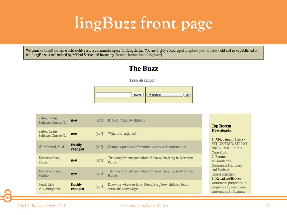 lingBuzz front page LAGB, 1st September 2014Introduction to Open Access24