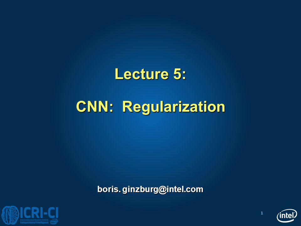 1 Lecture 5: CNN: Regularization boris. ginzburg@intel.com