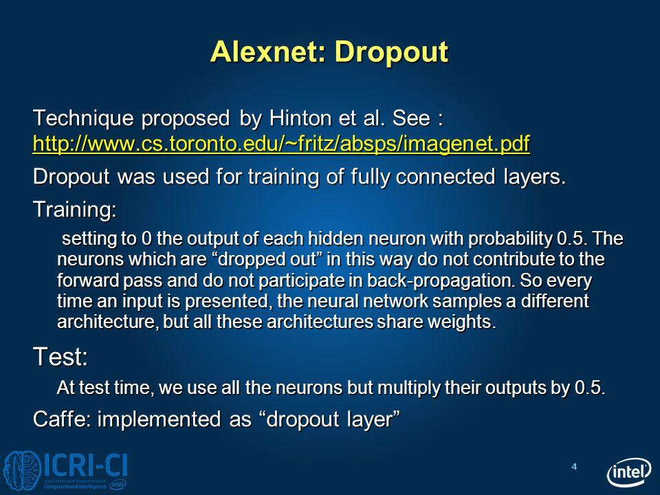 4 Alexnet: Dropout Technique proposed by Hinton et al. See : http://www.cs.toronto.edu/~fritz/absps/imagenet.pdf http://www.cs.toronto.edu/~fritz/absp