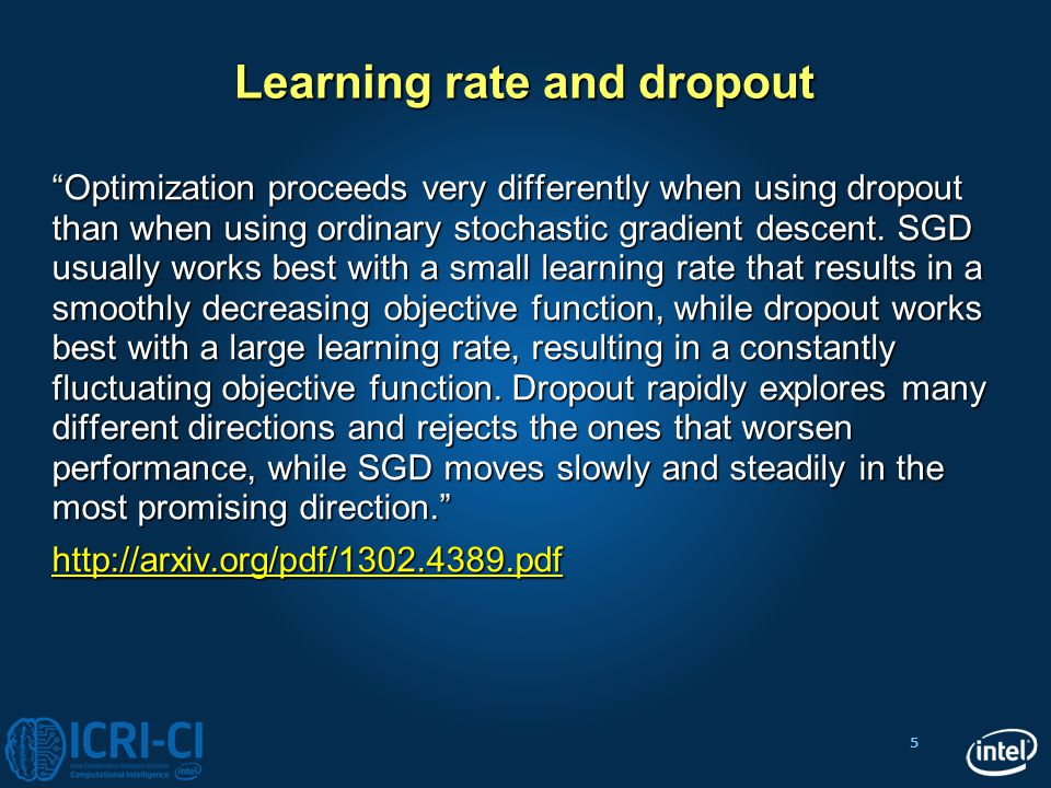 """5 Learning rate and dropout """"Optimization proceeds very differently when using dropout than when using ordinary stochastic gradient descent. SGD usual"""