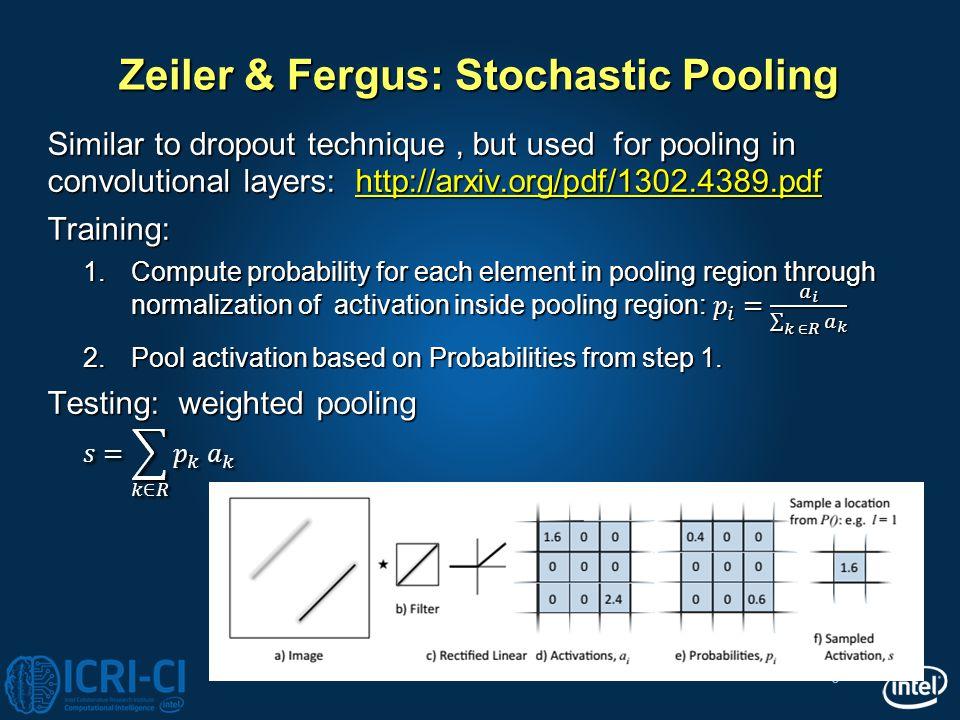 6 Zeiler & Fergus: Stochastic Pooling