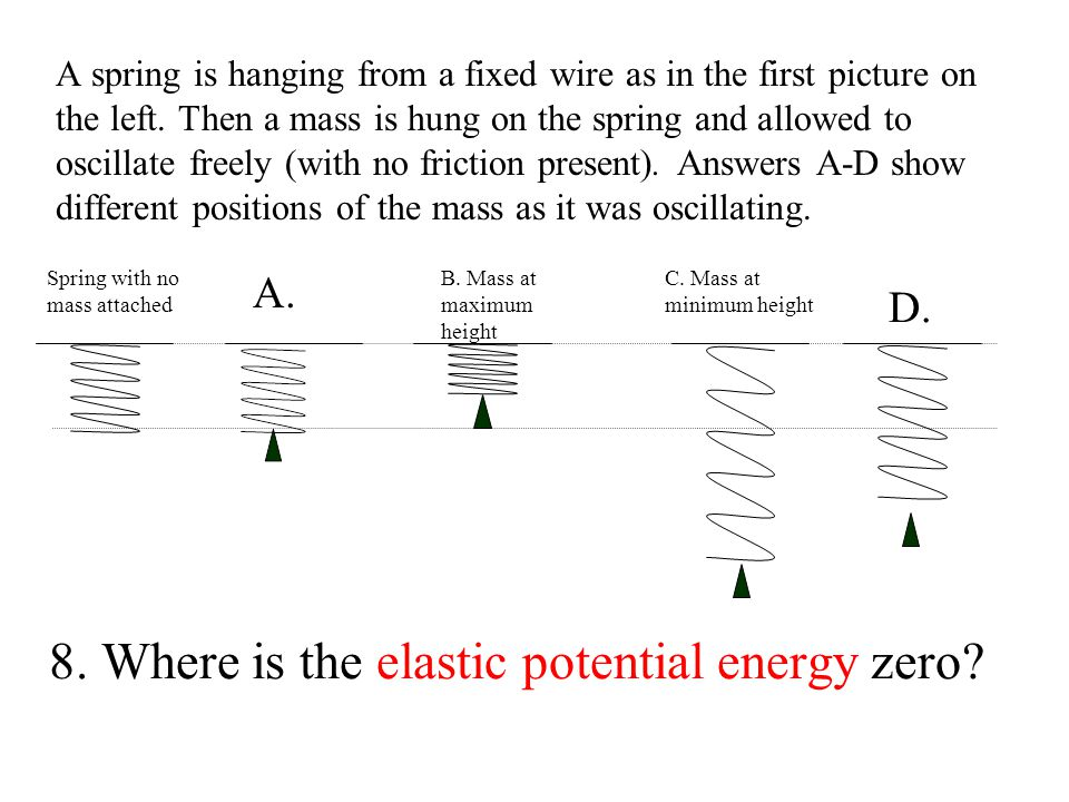 8.Where is the elastic potential energy zero.