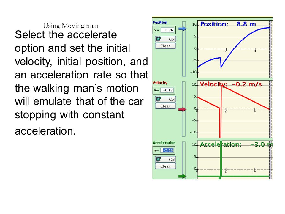 Using Moving man Select the accelerate option and set the initial velocity, initial position, and an acceleration rate so that the walking man's motion will emulate that of the car stopping with constant acceleration.