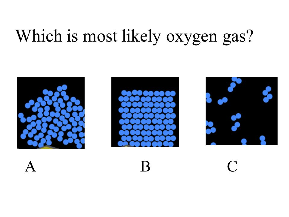 Which is most likely oxygen gas? ABCABC