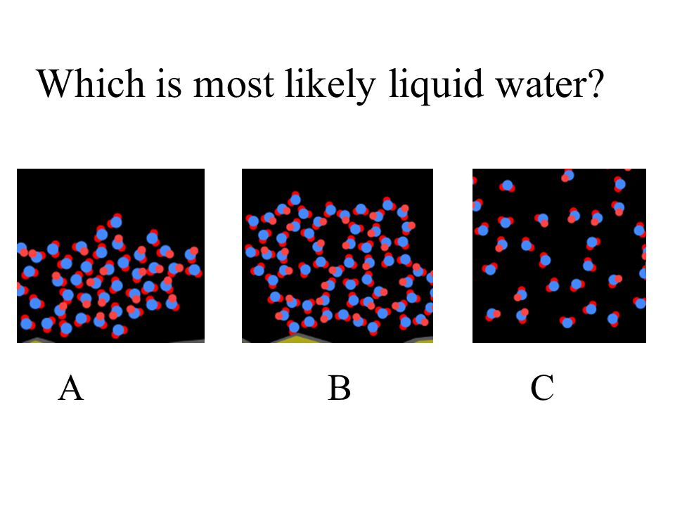 Which is most likely liquid water? ABCABC