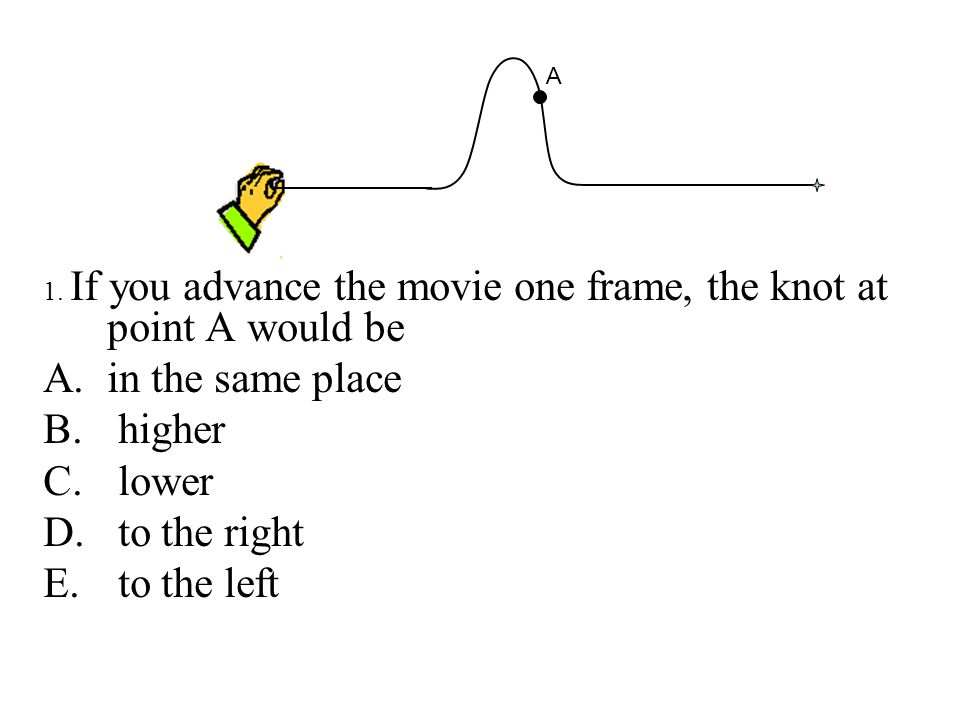 1.If you advance the movie one frame, the knot at point A would be A.in the same place B.