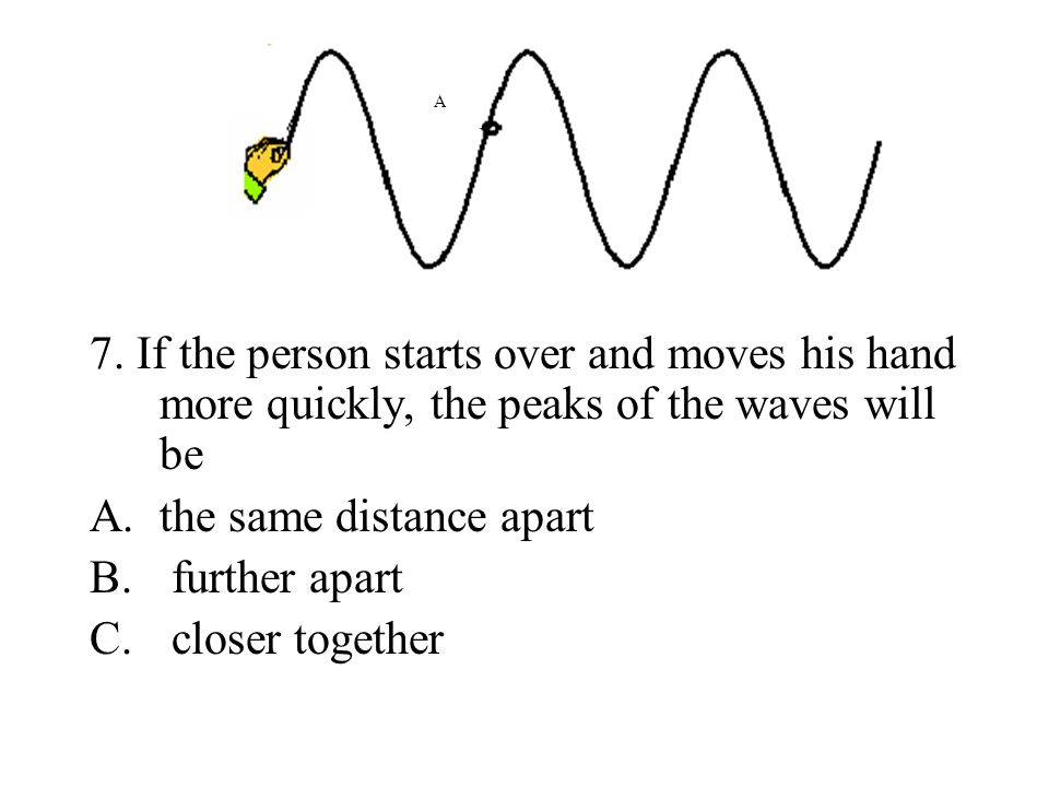 7. If the person starts over and moves his hand more quickly, the peaks of the waves will be A.the same distance apart B. further apart C. closer toge