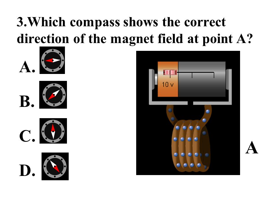 3.Which compass shows the correct direction of the magnet field at point A? A. B. C. D. A