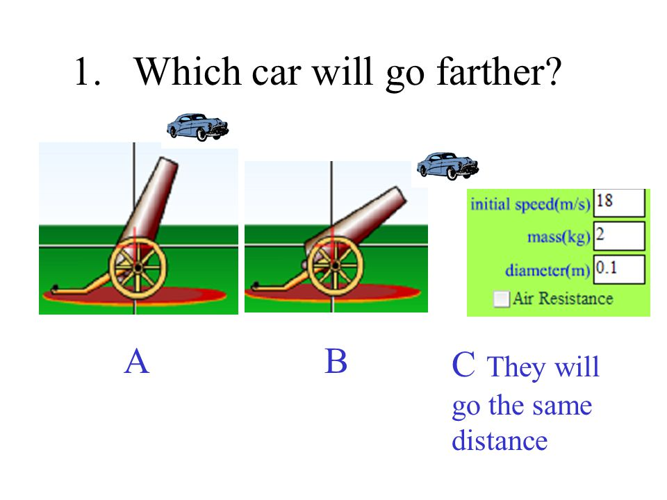 1.Which car will go farther? A B C They will go the same distance