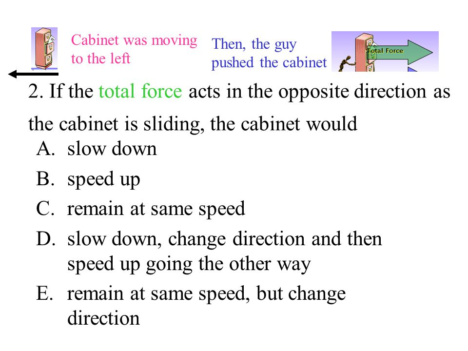 2. If the total force acts in the opposite direction as the cabinet is sliding, the cabinet would A.slow down B.speed up C.remain at same speed D.slow